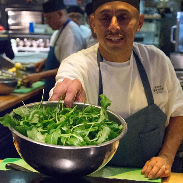 chef with fresh picked arugula